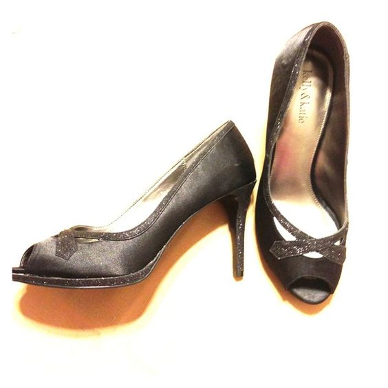 Black sparkle peep toe heels Brand new, never worn. With box. Great for the holidays! Kelly & Katie Shoes Heels