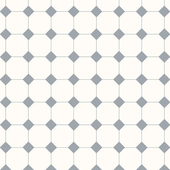 Victorian Floor Tiles. Mönster York, vit och grå klinker.
