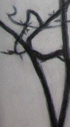 """Tree"", painting, acryclic on carton, black and white (detail)"