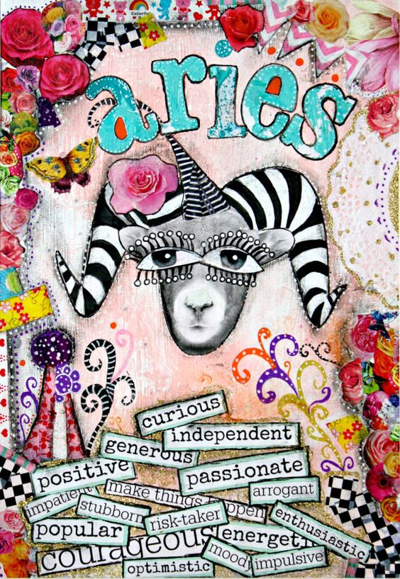 Aries art, Aries zodiac sign, horoscope art, mixed media collage art, pink and turquoise.: