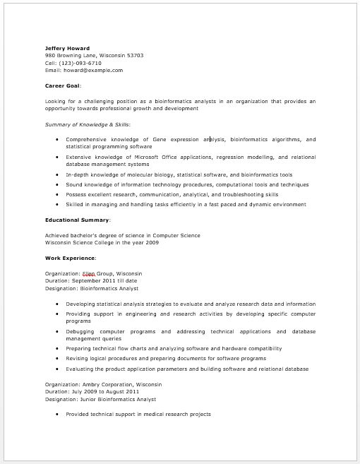 Bioinformatics Analyst Resume resume sample Pinterest - bioinformatics resume sample