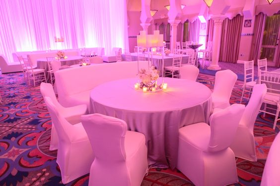 Modern White, Silver & Royal Blue Wedding with Pink Uplighting and Spandex Cover Chairs - St. Petersburg, FL Vinoy Wedding  - St. Pete Wedding Photographer Aaron Lockwood Photography