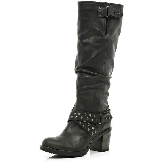 river island black studded slouch knee high boots 160