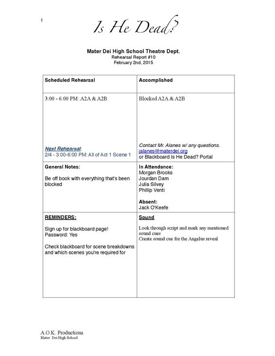 Page 1 of Is He Dead? Rehearsal Report Example | Stage Management ...