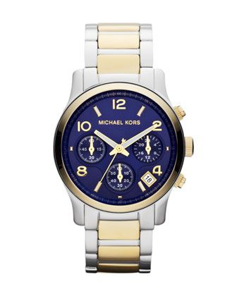 Michael Kors Mid-Size Golden/Silver Color Stainless Steel Runway Chronograph Watch. $250