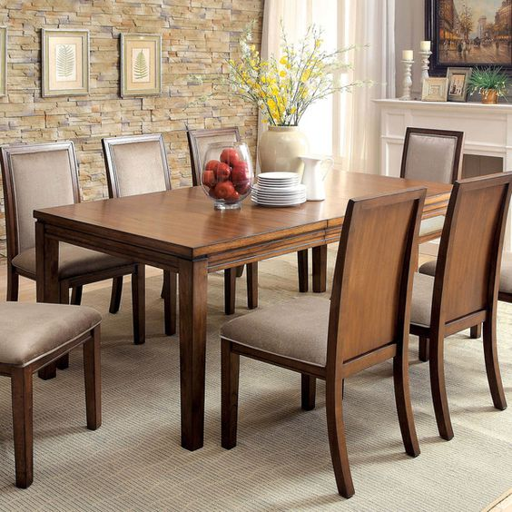 Furniture of America Berla Country Style Expandable Dining Table