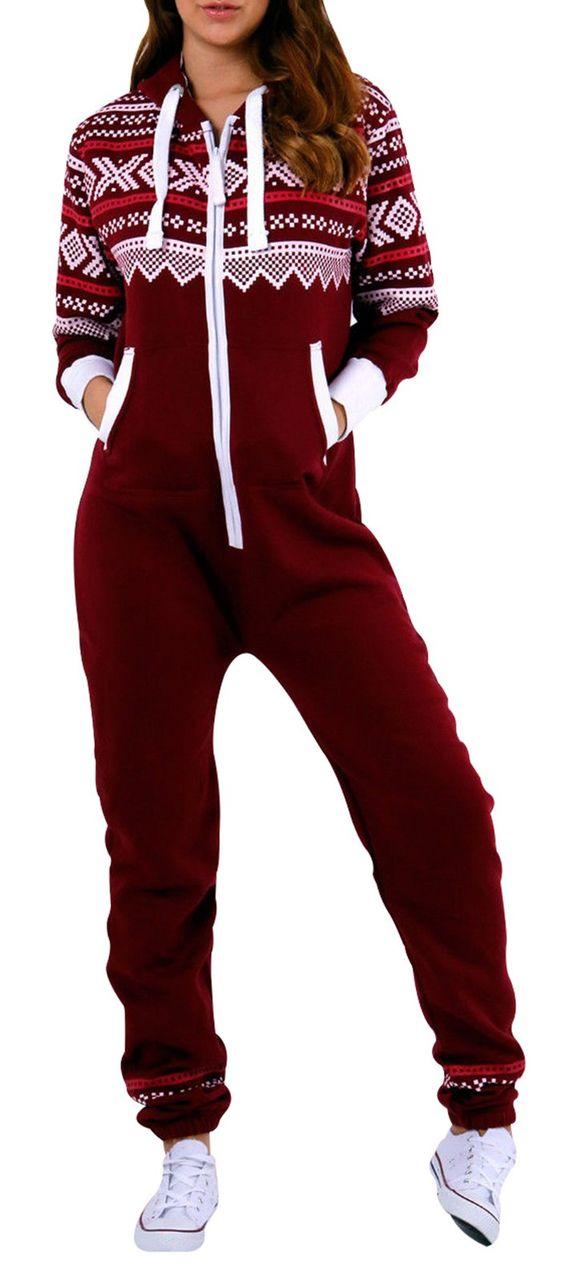 SkylineWears Women's Onesie Fashion Printed Playsuit Ladies Jumpsuit Large Burgundy: