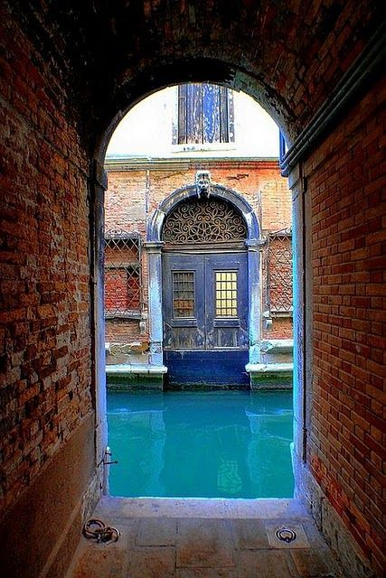Venice, Italy, this was one of my favorite experiences in Venice; turning a corner and finding a door through a tunnel/canal.: Venice Blues, Favorite Place, Doors Windows, Blues Venice, Places I D, Beautiful Doors, Venice Italy, Blues Italy