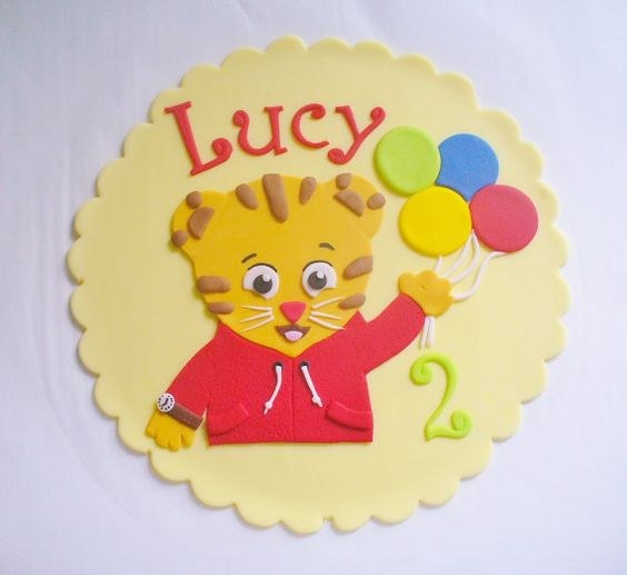 Daniel Tiger edible fondant cake topper plaque, personalized with name and…