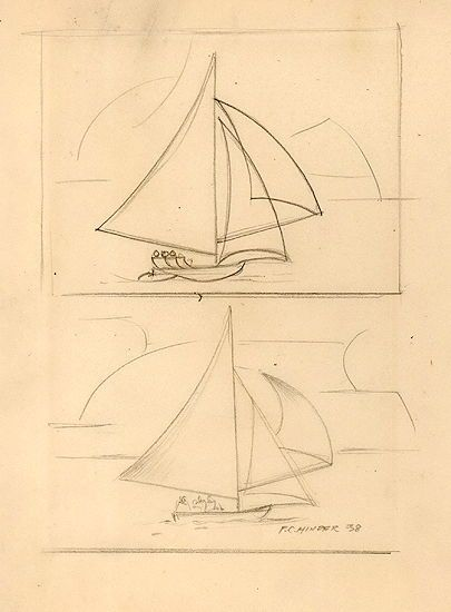 Frank Hinder  Sailboats, 1938  Pencil sketch, signed and dated lower right