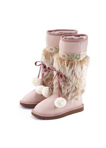 Sweet Fuzzy Pompom Snow Boots Pink