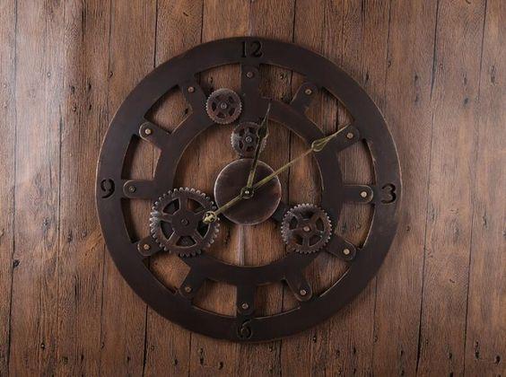ברונזה טבעת reloj שעוני קיר דקור עתיק קלאסי eueope אמריקאי שעוני קיר גדול מתכת עגול קוורץ שעוני קיר GZ16013