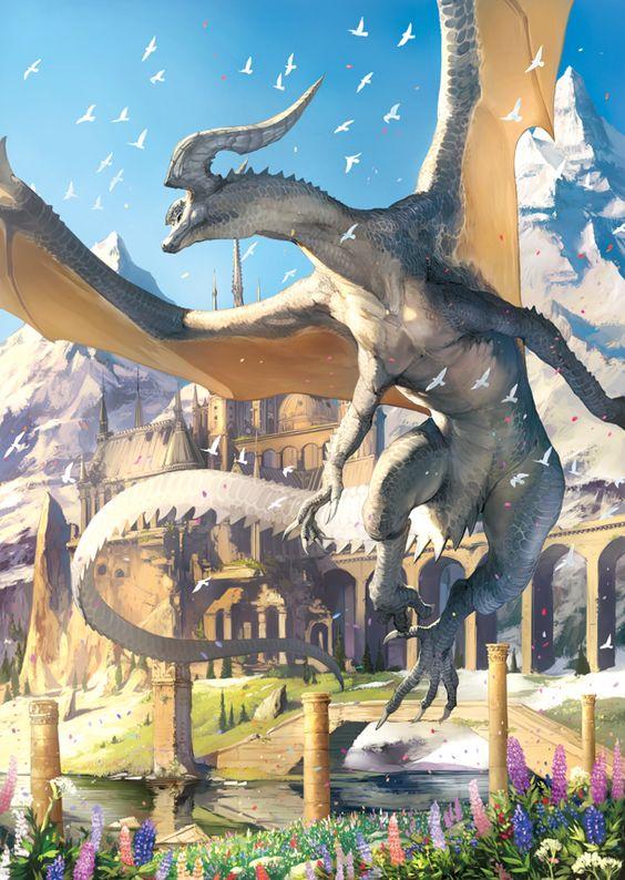 鳥に囲まれたホワイトドラゴンの壁紙