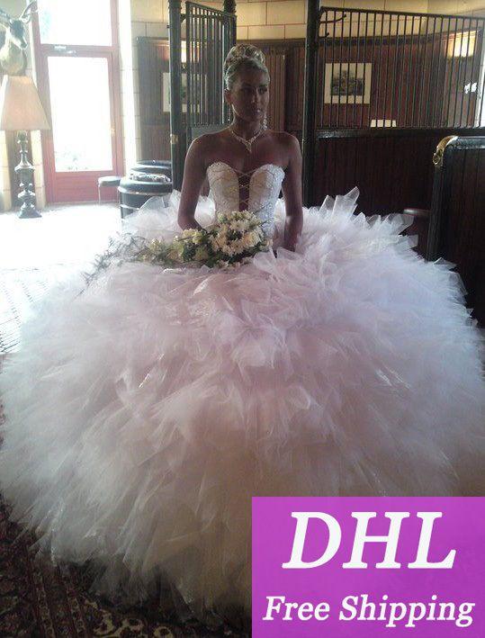 2014 gezwollen prinses luxe korset wit verband met kristallen kralen geplooide baljurk trouwjurken