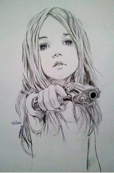 little girl gun sketch: