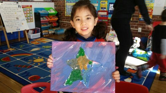 """""""Paint me a star"""" Eric Carle's inspired art class, experimenting with textures and colors."""
