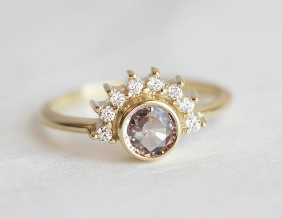 Half carat peach champagne sapphire ring. So feminine and elegant! 18K gold diamond prong engagement ring with a natural round peach champagne