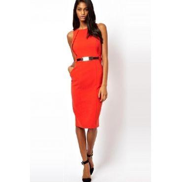 USD15.99Fashion O Neck Tank Sleeveless Sheath Knee Length Orange Polyester Dress