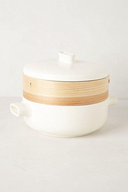 japanese ceramic and cedar steamer.