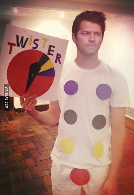 Misha Collins from Supernatural in an inappropriate, but creative Halloween costume.