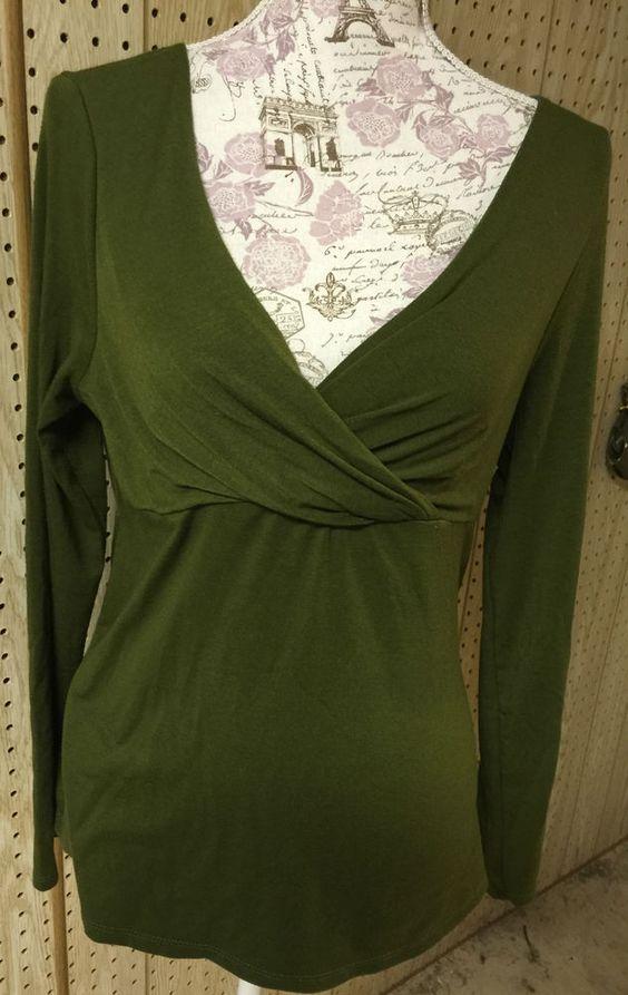 Liz Lange Maternity Hunter Green Criss Cross Long Slv Stretch Knit Blouse M #LizLange #Blouse
