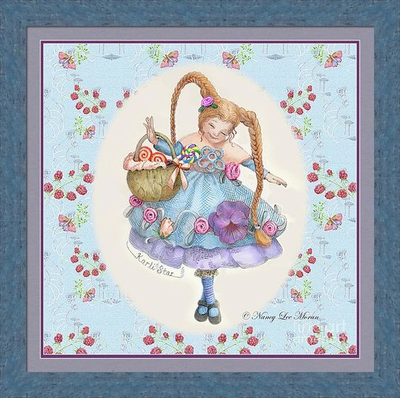 """Fun art for a girl's room! """"Karli Star With Butterflies And Raspberries"""" © Nancy Lee Moran is on Fine Art America. Click the image to see it, then to choose your own mat, frame, and print size. This frame is #RSL6 Sedona Sky (in the """"Blue"""" drop-down menu). Mat is Concord, 1.5 inch wide. Inner mat is Las Cruces Purple in size 0.25 inches. Print size as shown is 24 x 24 inches. #blue #braids #cute #mushrooms #purple #raspberries #redhead #whimsy #FineArtAmerica #NancyLeeMoran"""