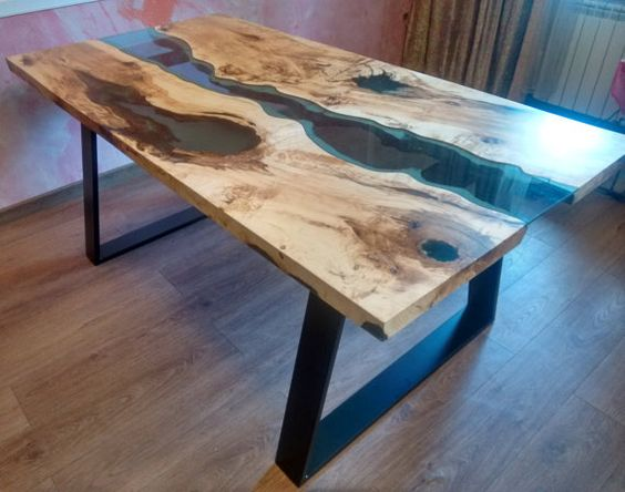 Live Edge River Table Blue Valley With Blue Epoxy By KameleonCraft | Wood  Design | Pinterest | Epoxy, Rivers And Resin