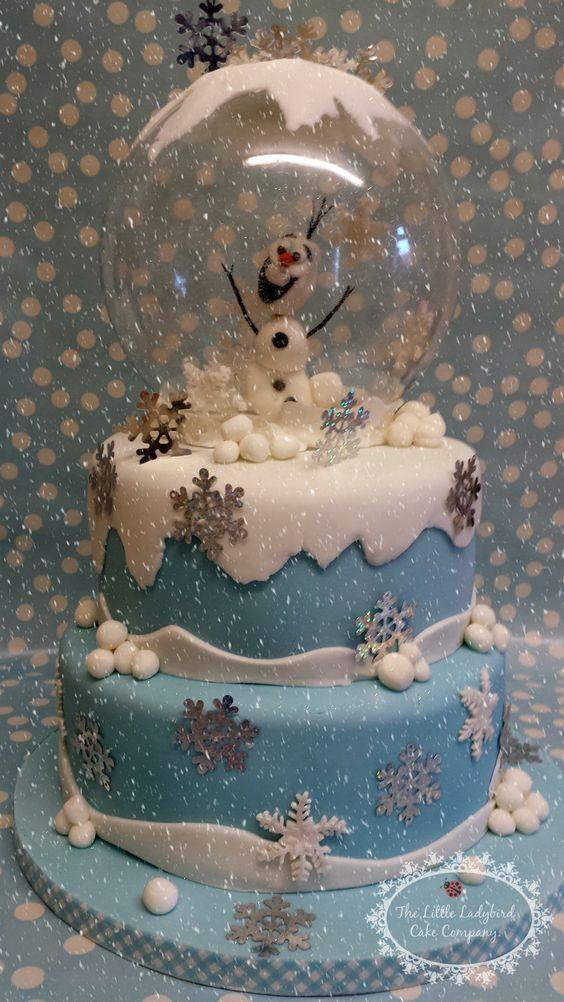 Olaf snow globe Christmas cake - LLCCx