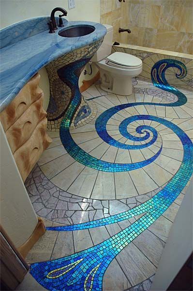 Glass mosaic tiles in a bathroom. Could be used elsewhere in the house.