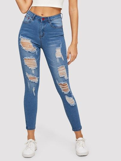Solid Ripped Skinny Jeans Cute Ripped Jeans Womens Ripped Jeans Women Jeans