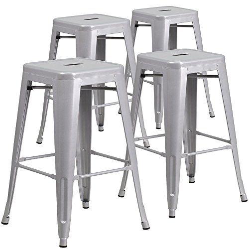 Belleze Set Of 4 Modern Industrial Bar Stools 30 Seat Height