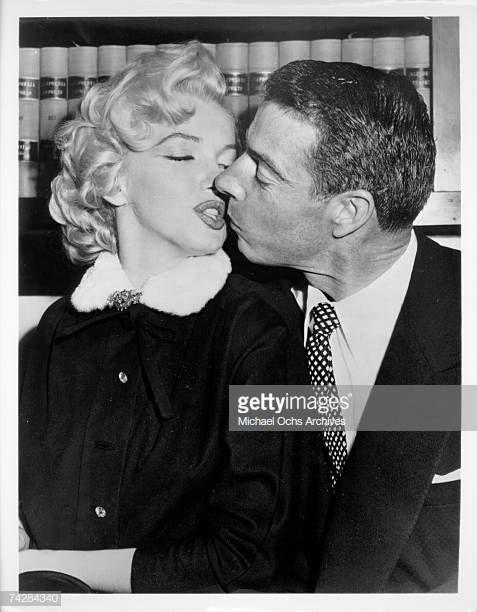 Actress Marilyn Monroe Kisses Baseball Player Joe Dimaggio During Actresses Joe Dimaggio Baseball Players