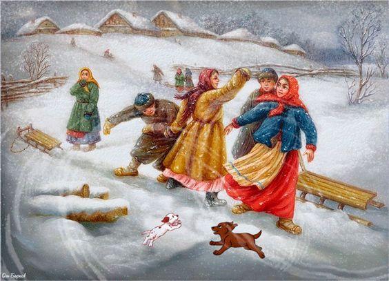 Зимние забавы - Зима картинки - Анимационные блестящие картинки GIF