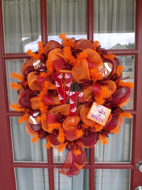 Virginia Tech Hokies Deco Mesh Wreath by CrazyboutDeco on Etsy, $69.00