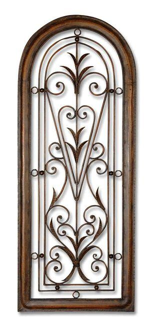 Tall Tuscan Wrought Iron Wall Grill - Arch Shaped