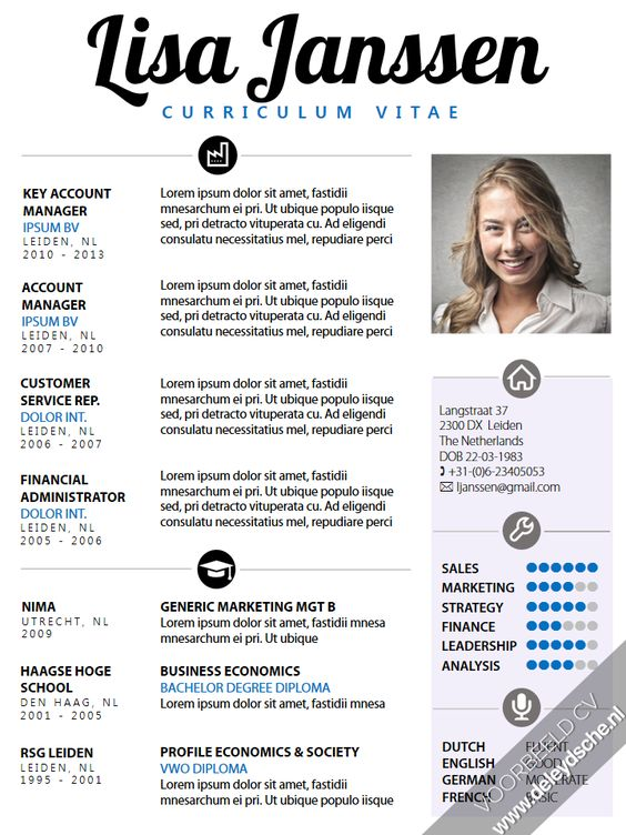 CV sjabloon: Een opvallend, maar toch zakelijk Curriculum Vitae van de ...