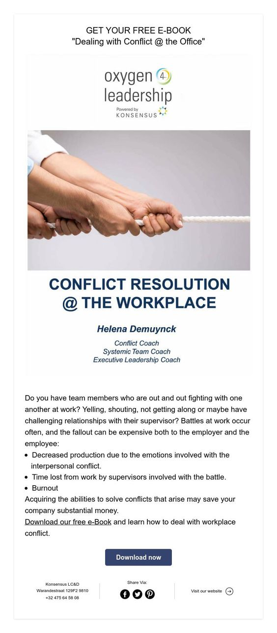 """Get your free e-Book """"Dealing with Conflict @ the Office"""""""