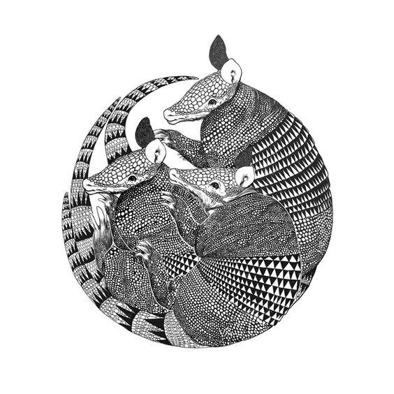 armadillos Art Print by Laura Graves | Society6