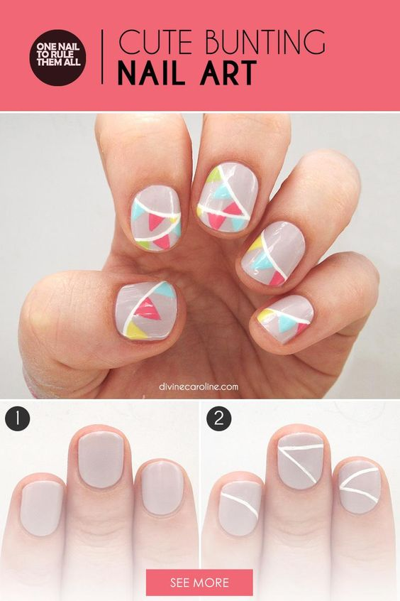 Looking for the perfect easy nail design for the next neighborhood block party? Look no further. This adorable bunting design is perfect for any breezy summer day. With a couple of basic nail art techniques, you can do this look yourself in no time. - DivineCaroline.com