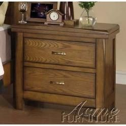 LINE #1956  Acme Nightstand with Metal Handles in Ask Oak Finish
