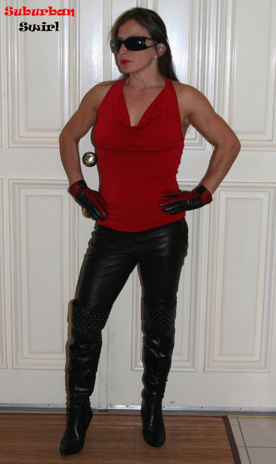 Leather leggings by Victoria's Secret, top by Venus, leather gloves by Wilsons and boots by diba.