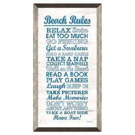 """Showcasing a beach-chic typographic motif, this artful framed print is a charming addition to your foyer or gallery wall.   Product: Framed printConstruction Material: Paper, glass and polystyreneColor: Grey and brown frameFeatures: Ready to hangDimensions: 19.25"""" H x 10.25"""" W"""