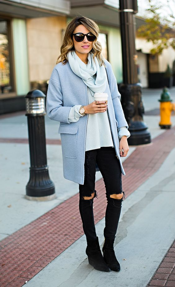 statement coats powder blue with black jeans