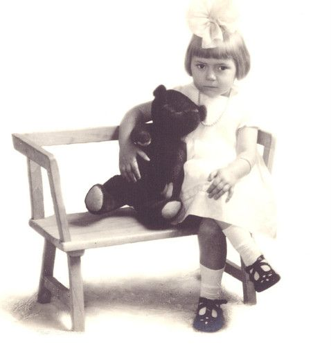 Postcard Cute GIRL w/ ANTIQUE TEDDY BEAR