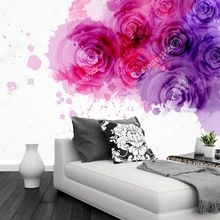 Personalizado papel pintado moderno p rpura y rosas de for Papel pintado personalizado