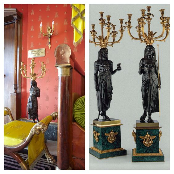 Heuvelmans Interiors gilt bronze and malachite base candelabra style Empire after Emile Picault ref.CAND.1103 at the residential suite 5 star hotel Le Negresco Nice France #LeNegresco