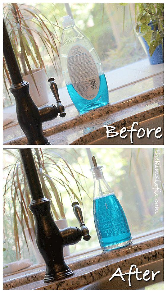 Hometalk :: Olive Oil Bottle Turned Dish Soap Dispenser