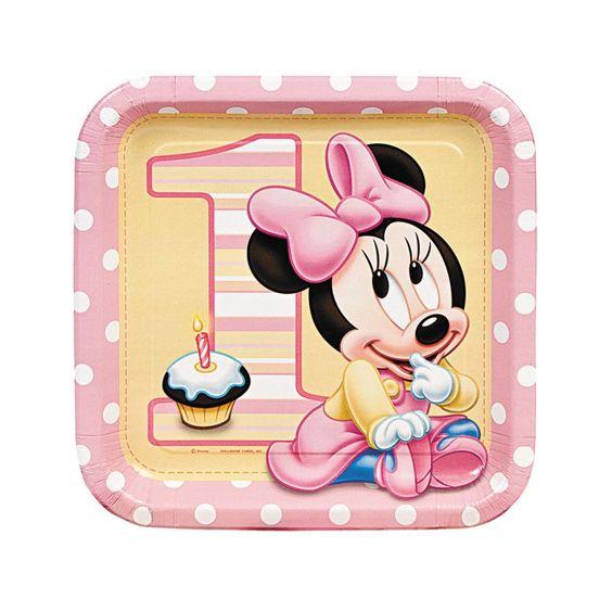 Minnie's 1st Birthday Square Dinner Plates