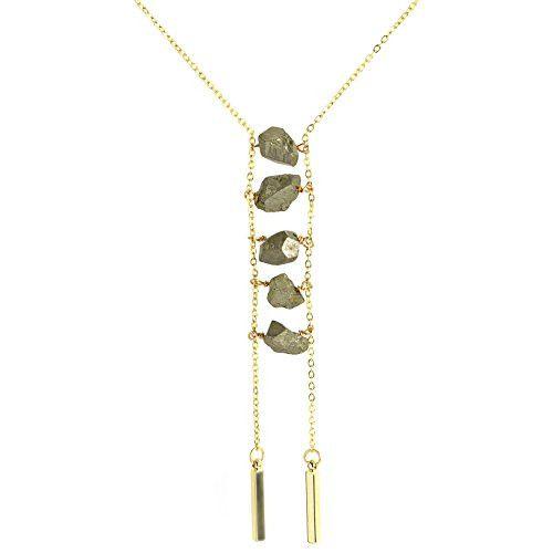"Modern Jewelry Design Ideas: Oceanne Pyrite Chunk 16"" Ladder Necklace"