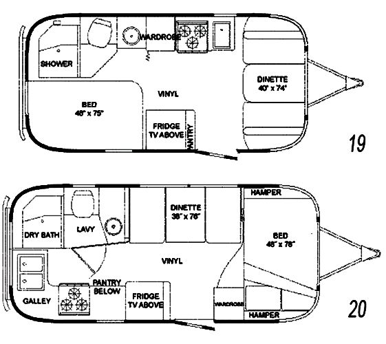 The Vintage Airstream 20 Foot Travel Trailer Floor Plans Vintage